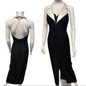 Ever Beauty Vintage Black Velvet Tuxedo Dress